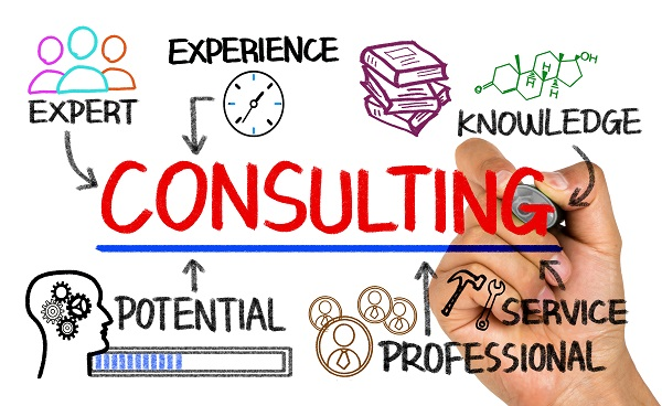 consulting concept chart with business elements on whiteboard